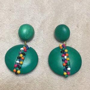 Jewelry - Green Retro Wood Earrings